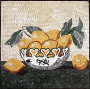Mosaico difiori e frutta